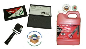 "Kit includes a quart RolMark red ink, 1 1/2"" roller, and ink pad."