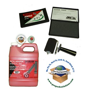 "Kit includes a quart RolMark red ink, 3"" roller, and ink pad."