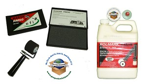"Kit includes a quart RolMark white ink, 1 1/2"" roller, and ink pad."